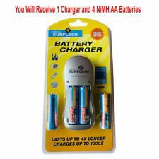 Rechargeable AA & AAA Battery Charger with 4 AA NiMH Rechargeable Batteries