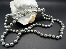 JOAN RIVERS SILVER w GREY PEARL CRYSTAL EGG CLASP NECKLACE GORGEOUS COLLECTOR'S