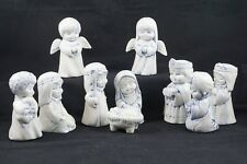 "Nativity Set 10 Pieces Delft Blue Coloring Ceramic 4.5"" Tall"