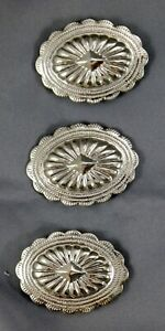Set of 3 Southwestern Cowboy Silver Tone Button Covers. Stamped Oval Conchos