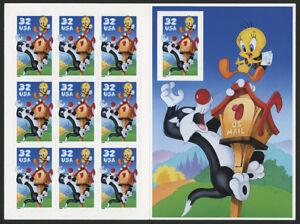 US 1998 32c Sylvester & Tweety Bird Pane of 10 Stamps Scott #3204 MNH