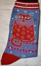 "Laurel Burch Cat Pattern Socks- ""CRIMSON CAT"" Denim Blue #1104"