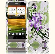 For Virgin Mobile HTC ONE V HARD Case Snap On Phone Cover Green Lily
