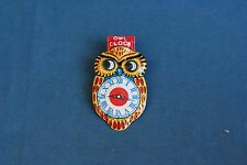 Vintage 1960's Clicker yellow Clock Owl Tin Toy JAPAN