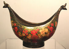 Antique Kashkul Persian Islamic Hand Painted Lacquer and Brass Begging Bowl