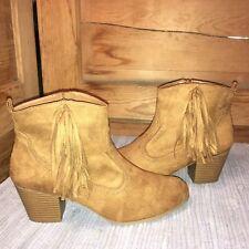 db30c258e22 BRASH 12M Faux-Suede western cowboy Half Ankle boots-Tan
