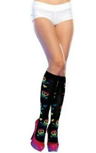 Rainbow Skull & Crossbones Knee Highs for Adults and Teens New by Leg Avenue