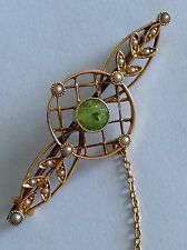Antique Victorian 15ct Gold Peridot & Seed Pearl Set Brooch