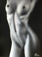 Dibujo de una niña desnuda # 86. Aerografía.