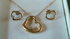 10K Yellow Gold Open Heart with Diamond Pendant Necklace and Earrings Set in Box