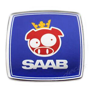 SAAB Rally Pig  Blue Chrome Square Custom Badge Emblem 3D Decal 93 aero 900 9-5
