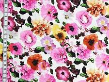 BAUMWOLLSATIN Stoff Meterware elagant seidiger Griff Sommerblüten Pink auf Weiß