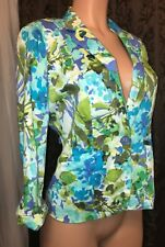 89th and Madison Women's Blue and Green Floral Blazer Top Size Small