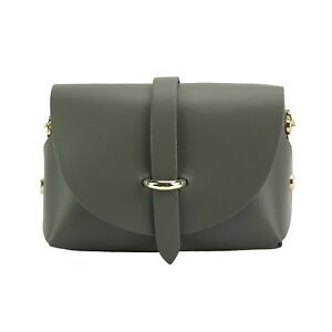 TJS Genuine Leather Mini Crossbody Handbag Clutch Handmade in Italy Dark Grey