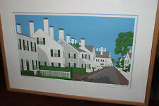 Superb Joseph Hazen Serigraph Country Town Houses-Signed -Sunday Afternoon
