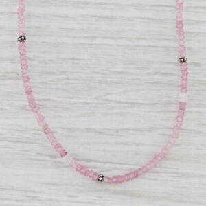 New Nina Nguyen Pink Topaz Bead Harmony Necklace Sterling Silver Long Adjustable