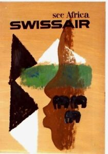Original vintage poster SWISSAIR AFRICA ORIGINAL PAINT c.1950