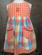 TOFF TOGGS Cotton PLAID SUMMER DRESS Euro 98 3 Girls Seersucker SHERBET COLORS