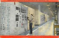Linen WA Postcard C728 Control Boards Powerhouse Grand Coulee Dam Washington