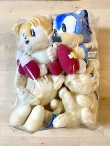 [4SET] Sonic The Hedgehog Sega 1998 Japan Large Fuzzy Paste Plush fighters tails