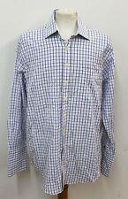 """W.V.BROWN White & Blue Men's Long Sleeved Check Shirt Size Collar 16"""" 40.5cm"""