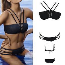 Women's 2PC Bikini Swimwear Padded Geometric Strap Bathing Suit Swimsuits M-2XL