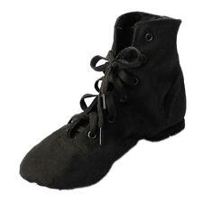 Y134 Canvas Jazz Ballet Dance Shoes Split Heels Soft Sole Black DS002-4.5