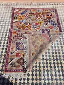 Vintage Handmade  one of one ben ourain Rug Carpet 100% Wool