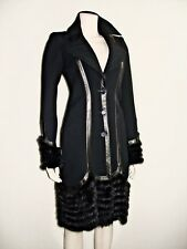ROBERTO CAVALLI BLACK MINK LEATHER WOOL WINTER DOUBLE BREAST COAT NEW NWT 40 US4