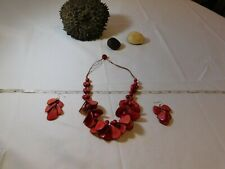 Tagua vegetable ivory Palm nut natural earrings necklace set smooth beads bead