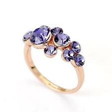 Ladies 18K Rose Gold Plated Beautiful Purple Crystal Zirconia Set Ring K L M P R
