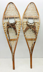 """Antique Vintage 12"""" X 42"""" Snowshoes Usable or Decor - Free Shipping"""