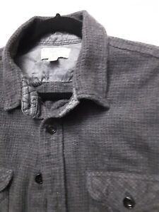 Wallace & Barnes Men's Black & Gray Grey Heavy Flannel Long Sleeve Size Large
