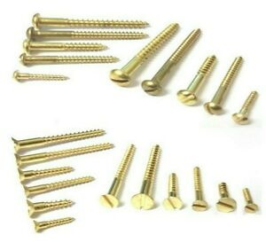 Solid brass wood screws. Round head or Countersunk. Slotted. 12mm -> 50mm..