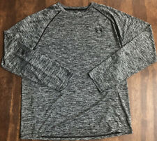 Mens Under Armour Heat Gear Black/White Loose Long Sleeve Shirt Athletic Size L