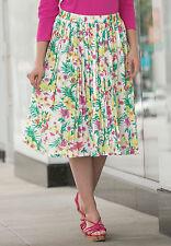 Floral Print Pleated Midi SKIRT Womans Size 12 plus NEW