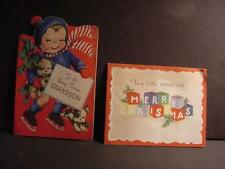Vintage Christmas Card Lot of 2: Boy Skating w/Puppies+ Alphabet Blocks-Grandson