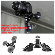 1Set Triple Low Angle Suction Mount Holder+Ball head for Car Gopro 2 3+4 Camera