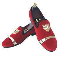 Handmade Red Velvet Loafers Men Wedding Prom Shoes with Buckle Slippers Flat New