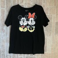 Mens DISNEY PARKS Distressed Mickey Mouse Gray Black Ringer Tee Shirt Sz XL