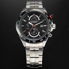 NEU Mens Edelstahl Sport Uhr Quarz Datum Wasserdichte Sport Clock Armbanduhr
