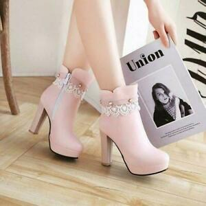 Winter Fashion New Lady Round Toe Thick High-Heel Ankle Boot Cute Style Oversize