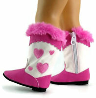 """Hot Pink & White Western Cowboy Heart Boots Shoes Fits 18"""" American Girl Dolls"""