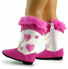 """Hot Pink Heart Western Cowboy Boots Doll Clothes Shoes For 18"""" American Girl AG"""