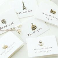 Lots 10Pcs Retro Metal Greeting Card Blessing Wish Cards Wedding Decor Ornament