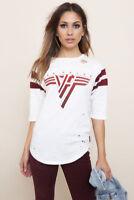 Trunk LTD Women's Vintage Football T shirt Van Halen white & maroon NWOT pinkish