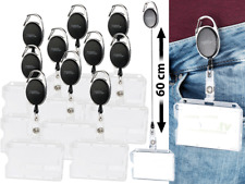 10x Ausweishüllen Hartplastik mit Jojo-Befestigungs-Clip Kartenhalter Messe Ski