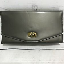 Vintage Pewter Gray Patent Leather Clutch