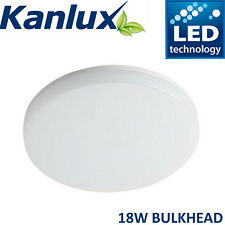 Kanlux Round Flush Mount Bulkhead LED Ceiling Light Waterproof 18W Warm White