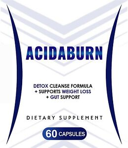 AcidaBurn Detox Cleanse Capsules Supports Weight Loss & Gut Health - New